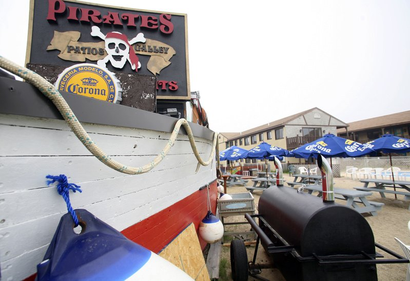 The Pirates Patio is near the ocean in Old Orchard Beach and features a fire pit and a small stage for local live music.
