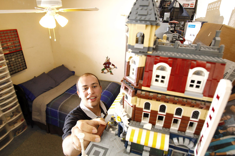 Christopher Piccirillo, 26, is a Lego devotee who organizes adult Lego groups, makes models for the Lego store, and has made Lego a business by teaching after school Lego clubs.