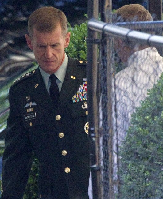 Gen. Stanley McChrystal arrives at the White House today for a meeting with President Barack Obama.