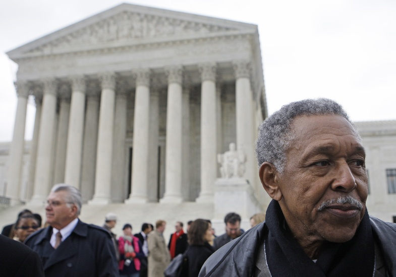 Otis McDonald, one of four plaintiffs in the Chicago handgun ban, takes part in a news conference in front of the Supreme Court in March. The court's decision Monday in the case opened the door to a series of lower-court challenges to all types of gun control measures.