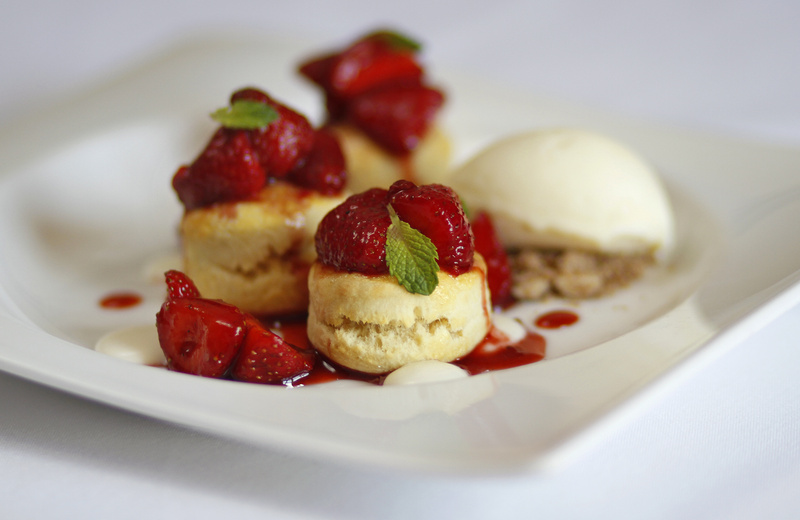 Local Strawberry Shortcake, created by pastry chef Bill Leavy, is a popular dessert at Back Bay Grill in Portland when the fruit is in season.