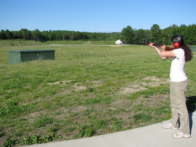 The 14-year-old Almeida daughter takes aim at a just-released clay, far left, with a borrowed 20-gauge shotgun at Scarborough Fish & Game. Although she's involved with a 4-H shooting sports rifle team, using a shotgun is a very different experience.