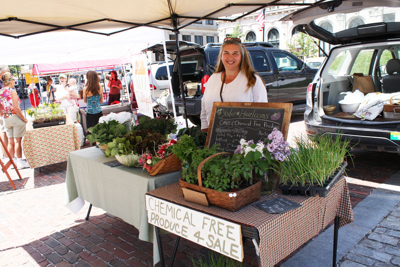 Kathy Yoder of Yoder Heirlooms at Sweet Season Farm is one of more than 20 vendors selling at the new Monday farmers market in Portland.