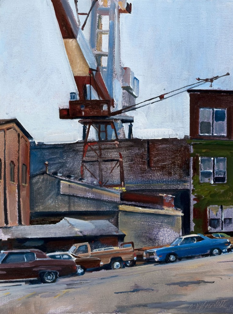 "Bath Iron Works,"" 1978, oil on canvas, 10 by 8 inches"