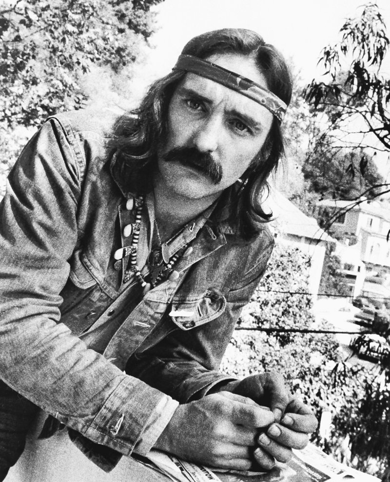 Actor-director Dennis Hopper poses in a 1971 photo in Hollywood, Calif. He was remembered in a memorial Mass Wednesday in Taos, N.M.