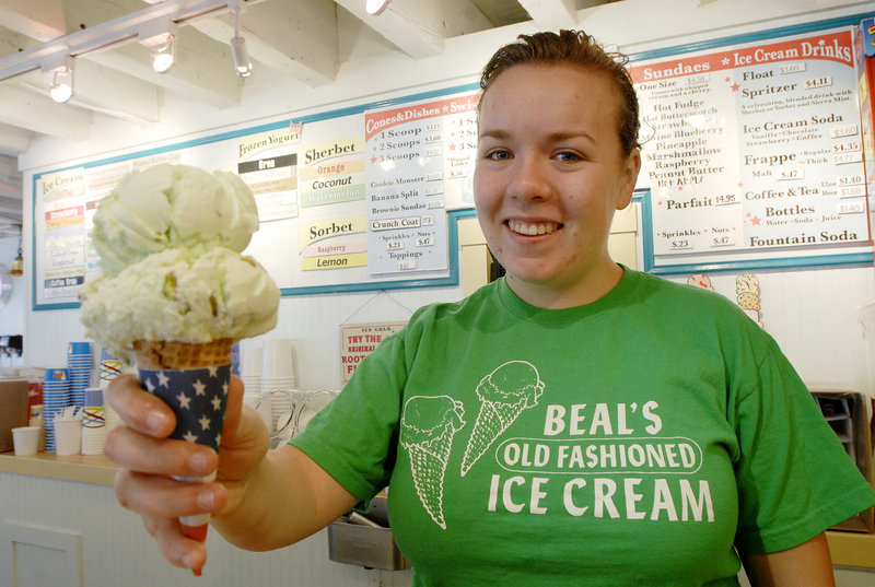 Madeleine Paine with two scoops of pistachio nut at Beal's in Portland, which narrowly edged Gelato Fiasco in Brunswick for Best Ice Cream
