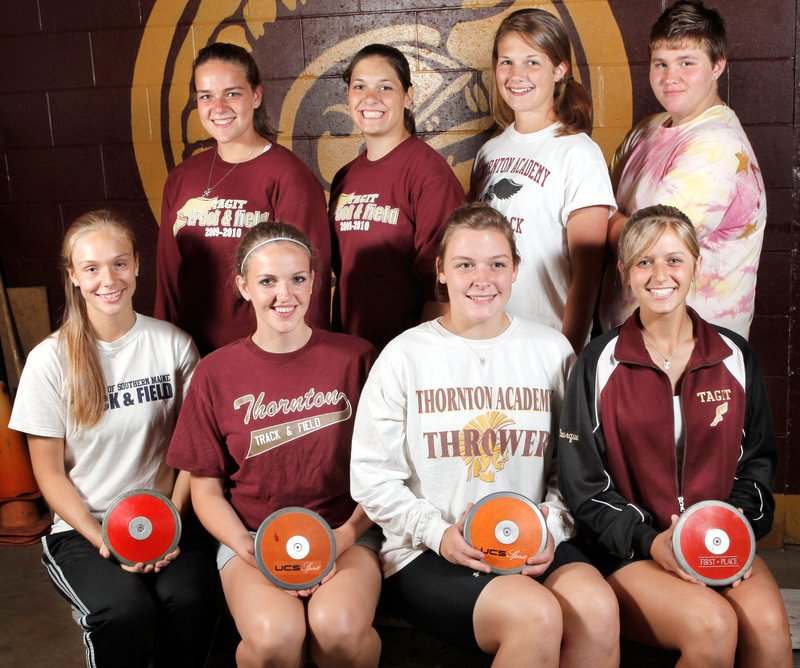 Thornton Academy will send eight girls to the Class A meet in discus. Back, left to right: Hannah Huntress, Elanna Lalezari, Marissa Boivin and Emily Morin. Front: Dana Tripp, Abbey Huntress, Molly Shannon and Alyssa Bourque.