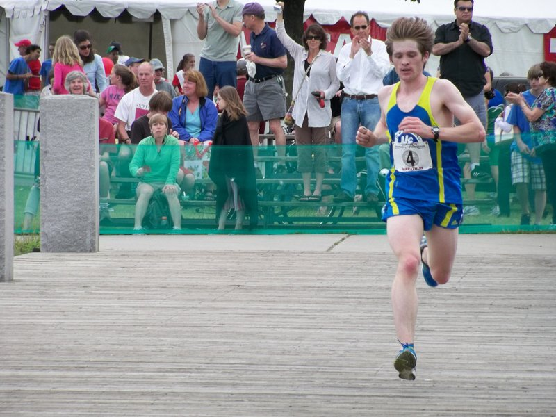 Curtis Wheeler of Buxton nears the finish line of the Key Bank Vermont City Marathon in Burlington, Vt., last Sunday. Wheeler, 24, ran 2:23:46 in his first race at the 26.2-mile distance.
