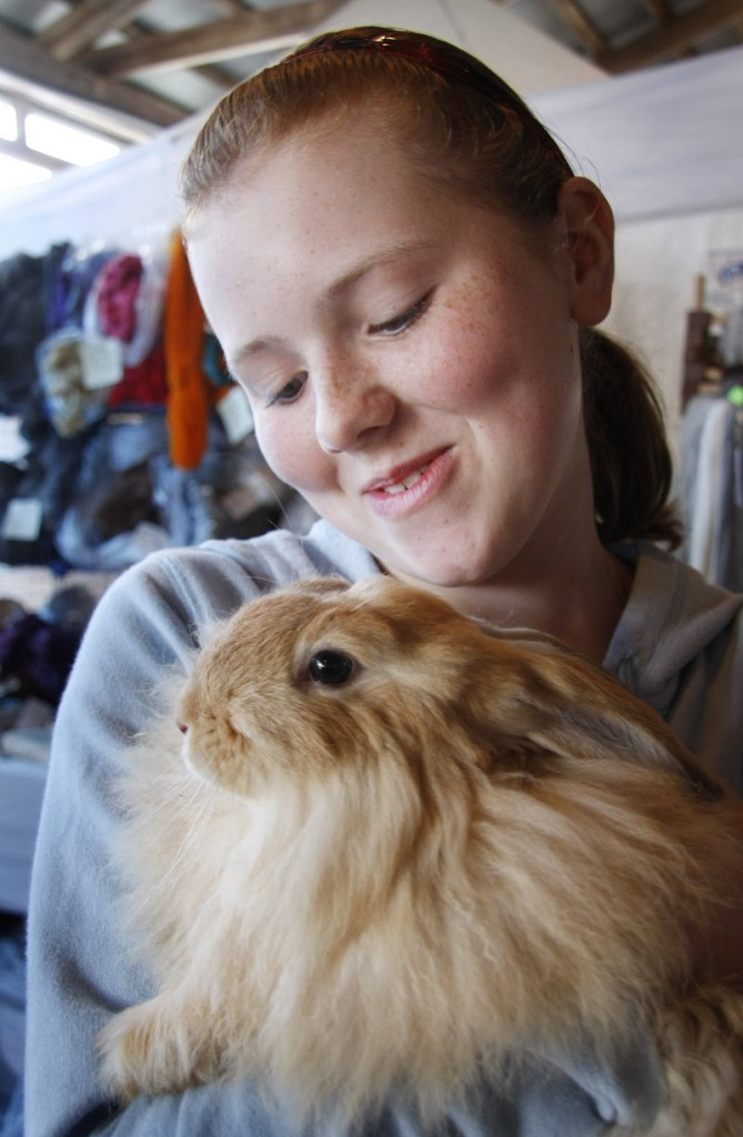 Evelyn Townsend of Fairfield snuggles with a French/German Angora rabbit while visiting the Underhill Fiber Farm of Gorham booth.