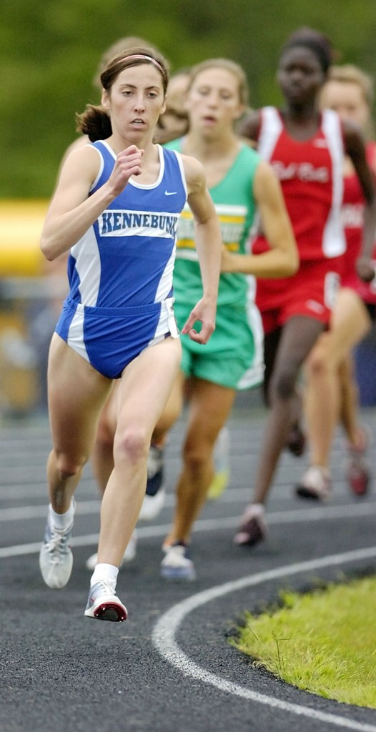 Abbey Leonardi, a Kennebunk sophomore, controls the field Saturday while lowering her own state record in the 1,600, capturing the event in 4 minutes, 51.57 seconds.