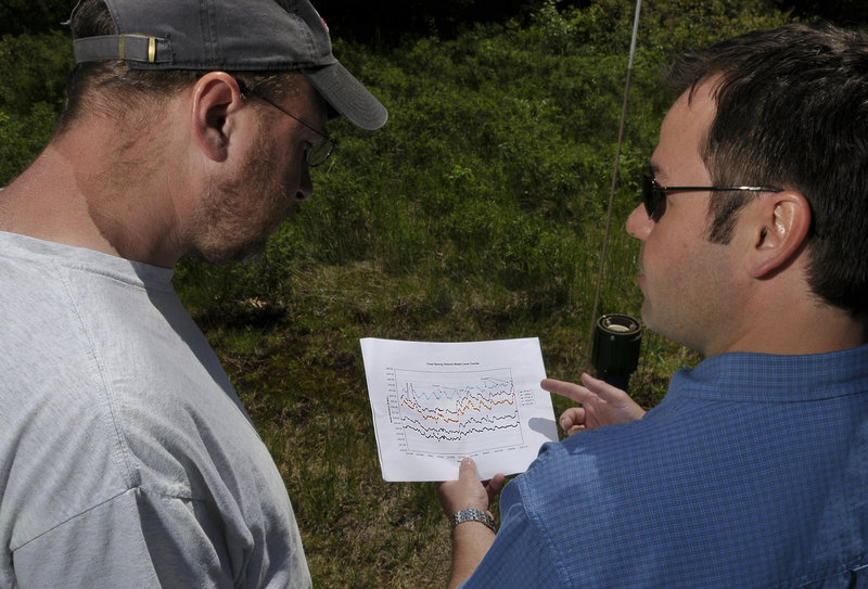 Poland Spring geologist Mark Dubois, right, explains to reporter Ray Routhier how the company keeps data on the water tables on its property. He is showing a chart on historic water level trends for the past decade.