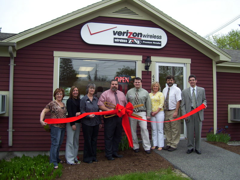The Wireless Zone was recently welcomed to Sanford with a ribbon-cutting ceremony. Attending, from left, were Stephanie Wilkins of New England Building Materials, Kaleigh Gerity of Ocean Communities Federal Credit Union, Wireless Zone sales representative Debra Pataky, Wireless Zone owner Michael Simone, Wireless Zone general manager Dan Snook, Rhonda Pope of Adams Park Storage, Sanford/Springvale chamber president Rick Stanley and Sean Dumont of Edward Jones Investments.