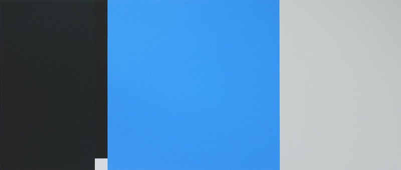 "Martha Groome's ""Where Blue Comes In,"" 24 by 56 inches, acrylic on canvas, at ICON Contemporary Art in Brunswick"