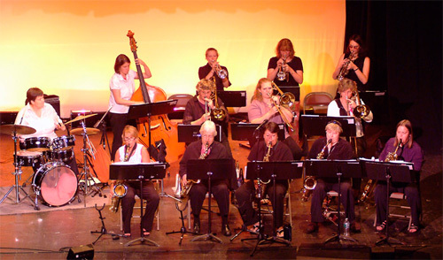 The Edith Jones Project, a 16-memver all female jazz big band, will perform Friday at the Saco River Grange Hall.