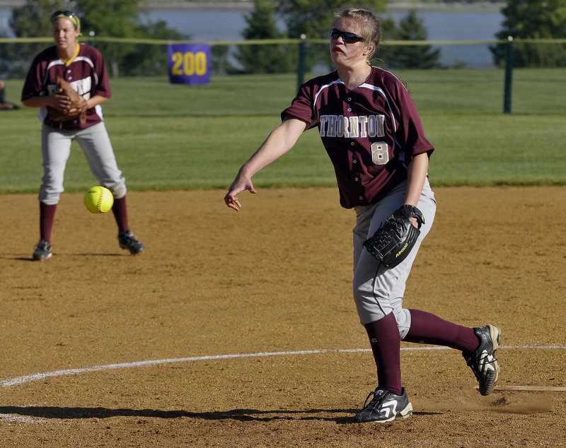Julia Geaumont settled down after a three-walk first inning Friday to pitch a one-hitter for Thornon Academy in a 5-2 regional playoff win over Cheverus.