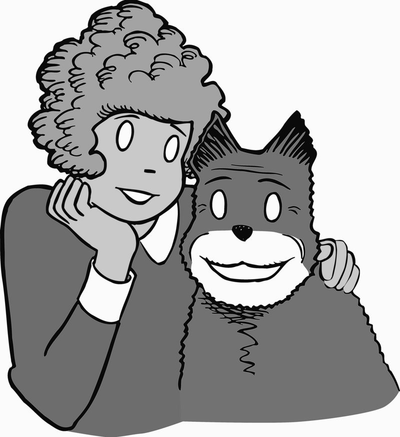 "Comic-strip character Annie and her dog, Sandy, from the ""Annie"" comic strip, were drawn by Leonard Starr, who succeeded Harold Gray as cartoonist upon Gray's death in 1968."