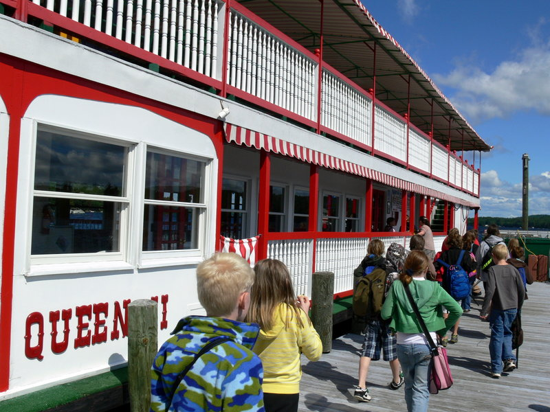 Students board the 93-foot Songo River Queen last week for their educational cruise.