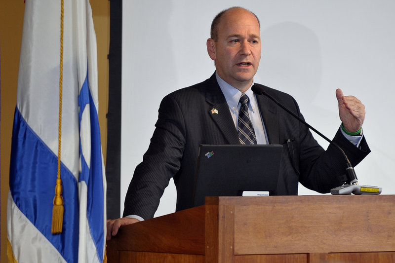 Nadav Tamir, Israel's consul general to New England, speaks at the University of Southern Maine's Glickman Family Library in Portland on Monday.