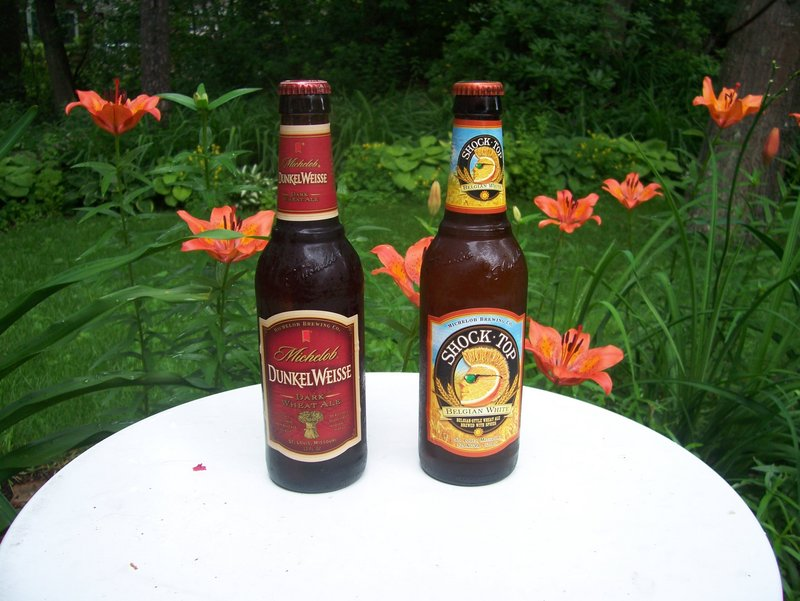 Dunkel Weisse, left, was a hit with the three tasters. Shock Top, with its orange, lime and other spice notes, was well-received.