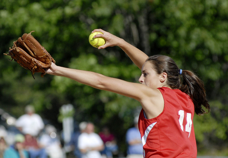 Alexis Bogdanovich is South Portland's top pitcher, with 108 strikeouts in 73 innings, and she gets strong support from the Red Riots' deep offense. The Riots face Bangor today at St. Joseph's College in the state Class A final.
