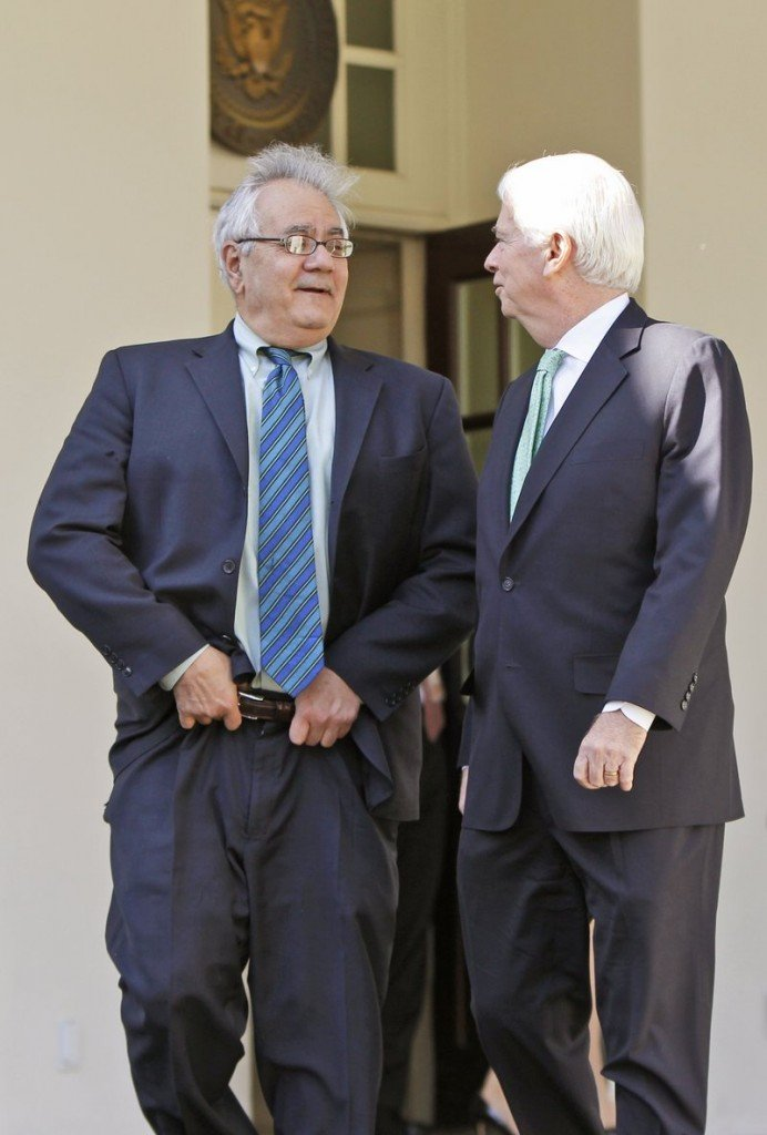 Sen. Christopher Dodd, D-Conn., right, the Senate Banking Committee chairman, is seen with Rep. Barney Frank, D-Mass., in March. Dodd is the Senate's leader on financial reform, while his wife, Jackie Clegg, serves on a board that has a big stake in the overhaul.