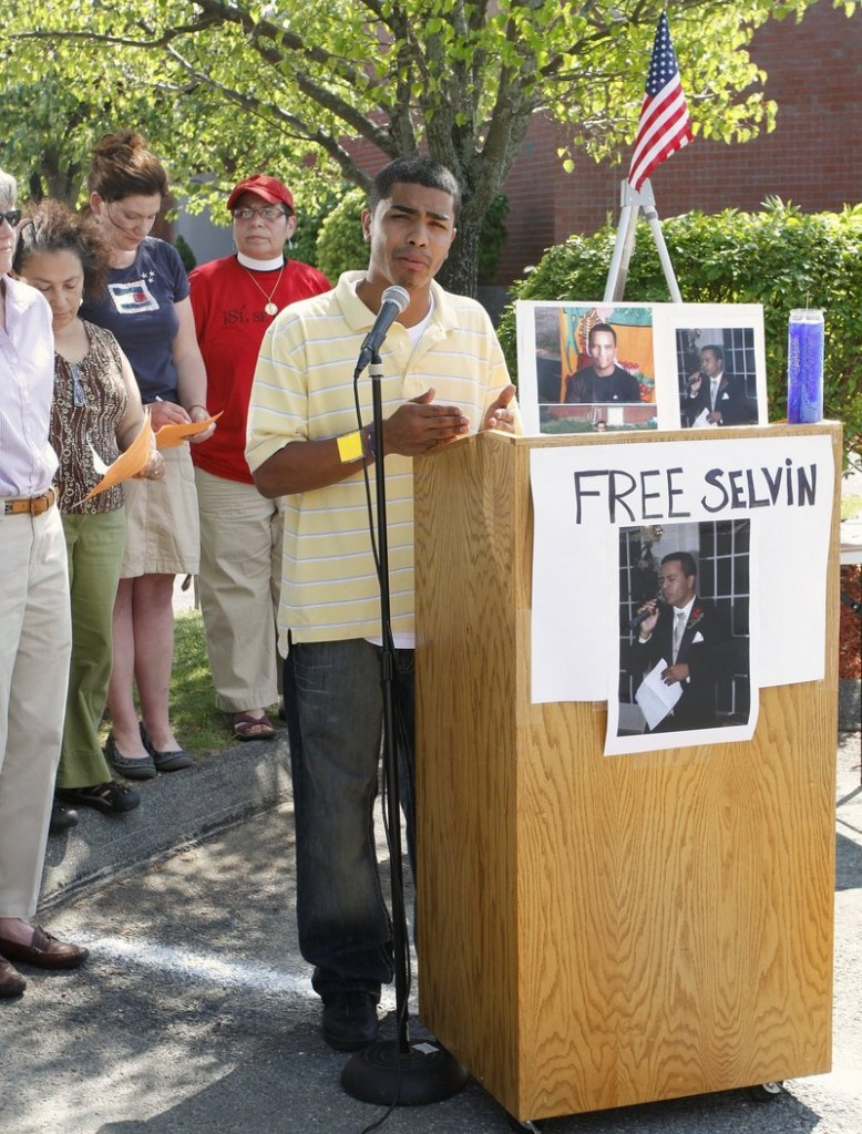 Isai Galvez speaks at a vigil last month for Selvin Arevalo, who has been held at the Cumberland County Jail since April on charges that he violated immigration laws.