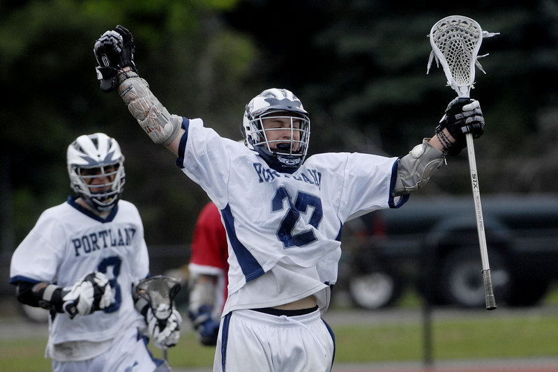 Jason Knight gets another opportunity to celebrate today, but he and his Portland teammates will have to beat Scarborough to do it. The Bulldogs and Red Storm meet in one of four state lacrosse finals at Fitzpatrick Stadium.