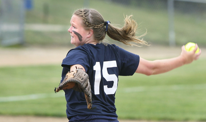Charlotte Lewis of Fryeburg Academy delivers a pitch against Maranacook during the Western Class B championship game at St. Joseph's College.