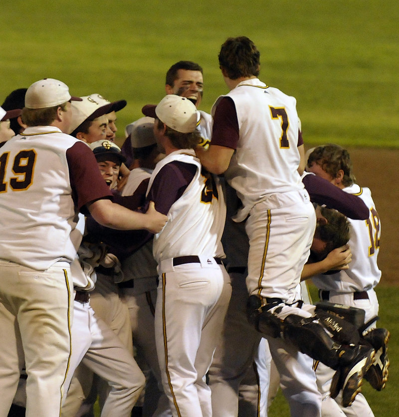 The pressure is off, the Western Class B baseball title has been won, and Cape Elizabeth unleashed its emotions Wednesday night after beating Yarmouth 5-1 in the regional final at St. Joseph's College.