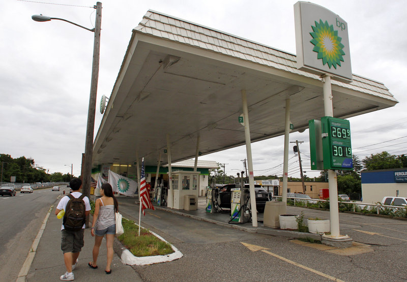"""BP's global network, including this gas station in Newton, Mass., posted a $17 billion profit last year. Said one observer: """"The U.S. government will become insolvent before BP does."""""""