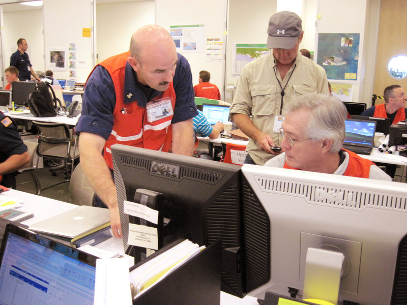 USCG Master Chief Petty Officer Richard Madore (left) Serves in Sector Northern New England out of Portland Harbor and has been put in charge of efforts to burn off oil in the Gulf of Mexico.