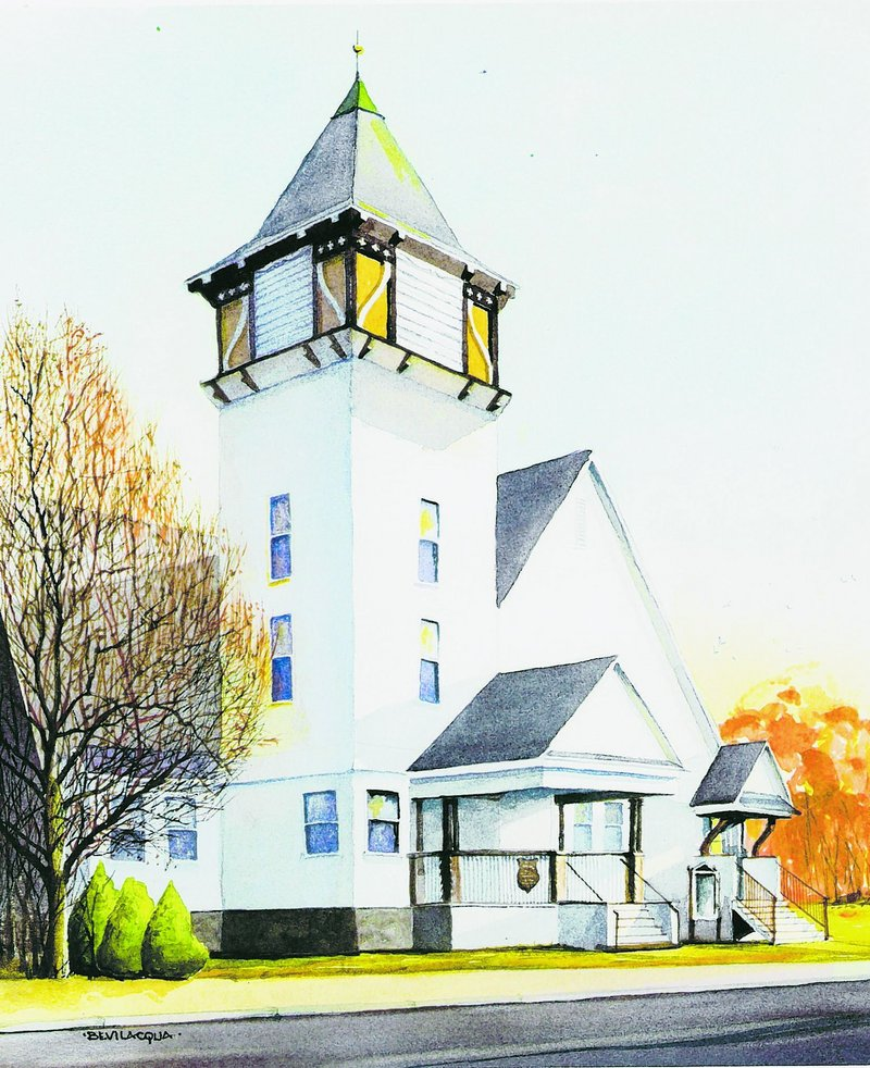 Berean Baptist Church, depicted in a painting, was founded in 1849 by Brunswick residents dismissed from another church in Brunswick.