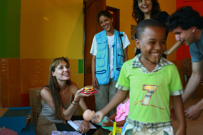 Actress Angelina Jolie visits a day-care center in Sucumbios province in Ecuador's Amazon region on Friday in her role as a Goodwill Ambassador for the United Nations Human Committee for Refugees.