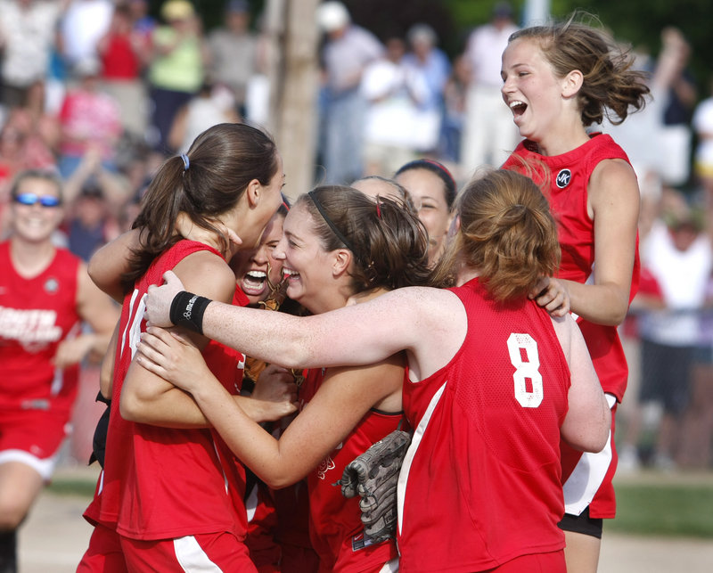 With their first Class A softball state championship tucked away Saturday, South Portland had plenty of reason to celebrate. The Red Riots defeated Bangor 1-0 on a three-hitter by Alexis Bogdanovich and Katlin Norton's winning RBI double.