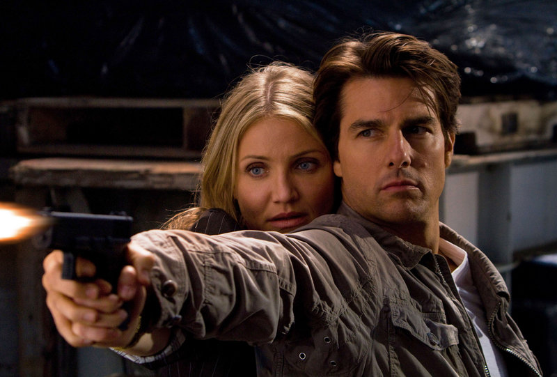 Cameron Diaz and Tom Cruise during a tense moment in