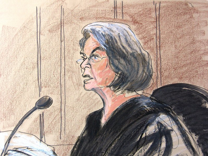 In an artist's depiction of the courtroom scene, U.S. District Judge Miriam Goldman Cederbaum hears Faisal Shahzad plead guilty Monday in federal court to carrying out the failed Times Square car bombing May 1.