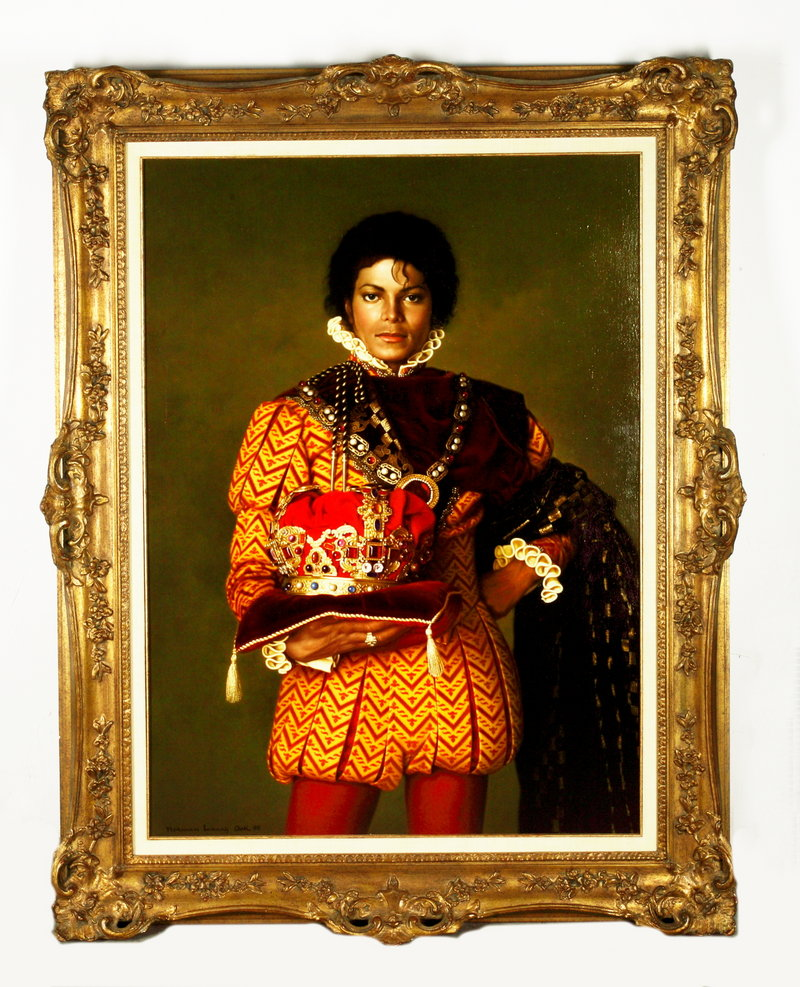 A 1995 portrait shows Michael Jackson dressed as a king. His hometown of Gary, Ind., has organized a tribute on Friday, the anniversary of the pop star's death.
