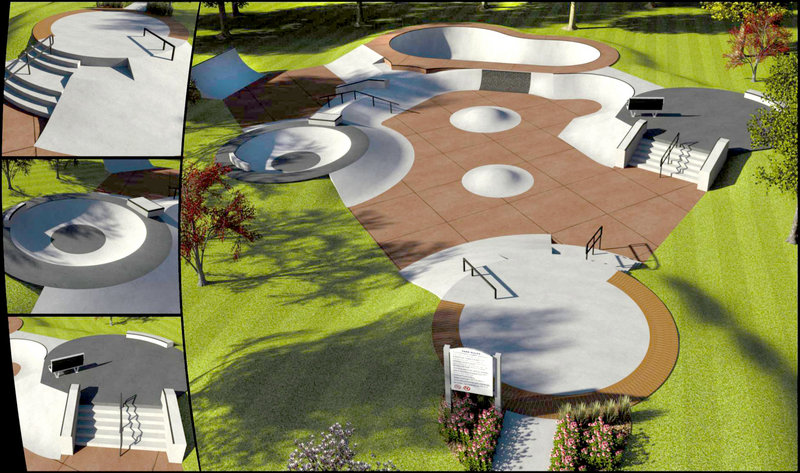 This rendering shows a skate park planned for Dougherty Field in Portland. The design is suitable for all skill levels of skateboarders and bikers, the builder says.
