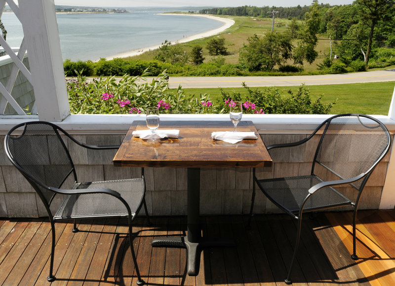 The Chart Room's porch affords a view west across the sand of Ferry Beach to distant Old Orchard Beach and Biddeford Pool and makes the inn fun to visit. Fine food under new management enhances the experience.