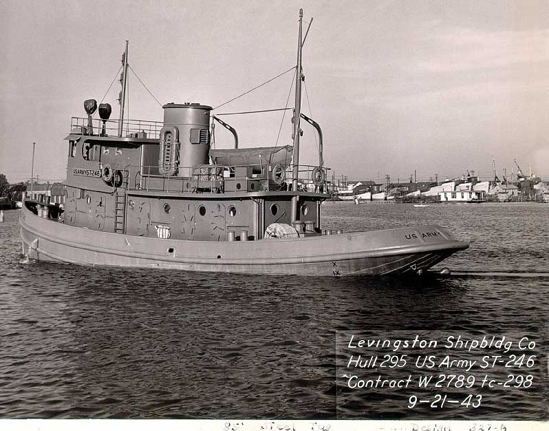 A 1943 Army photo released by the Lake Champlain Maritime Museum shows the sister tugboat of the William H. McAllister, the tugboat that was shipwrecked in Lake Champlain, Vt., in 1963.