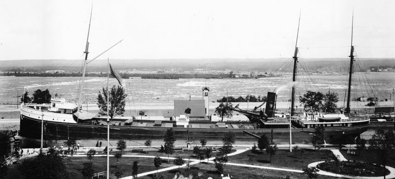 The L.R. Doty is seen at the Soo Locks in Sault Ste. Marie, Mich., in this 1896 photo provided by the Historical Collections of the Great Lakes. Maritime historians say they have found the wooden steamship, which sank more than a century ago in a violent Lake Michigan storm.
