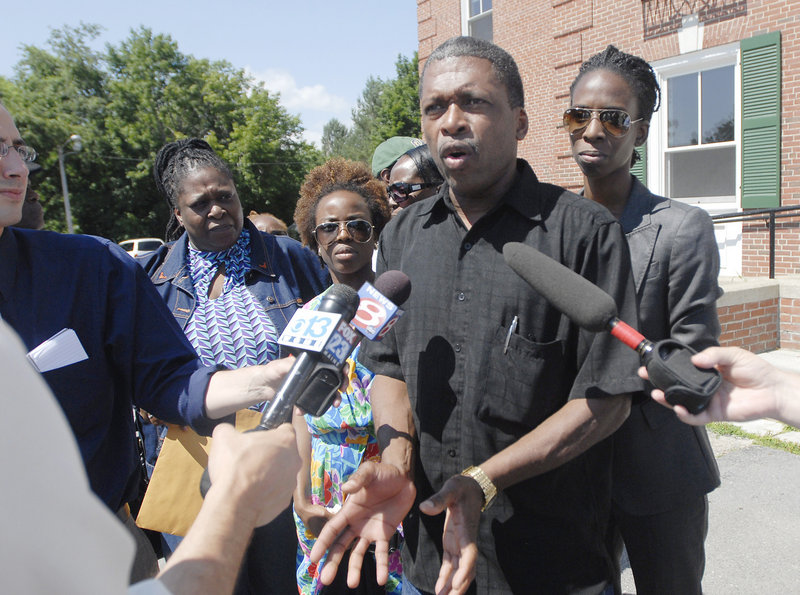 Whitfield George is joined by family outside York County Superior Court Friday after a jury found Darlene George and Jeffrey Williams guilty of murdering Winston George, her husband and Whitfield George's brother.