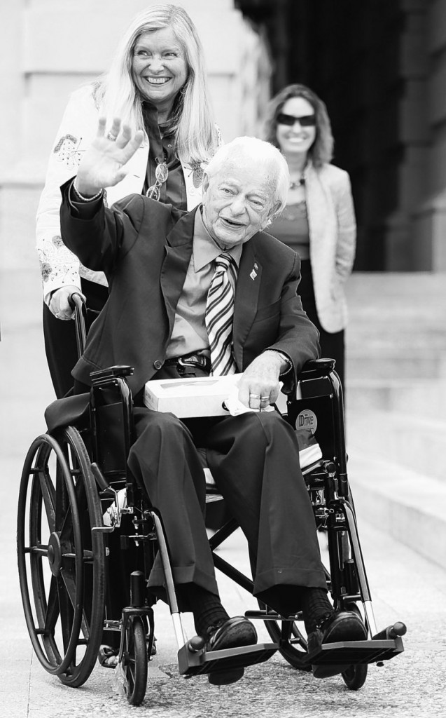 Sen. Robert Byrd, with longtime staffer and scheduler Martha Anne McIntosh, arrives on Capitol Hill in August 2009. The West Virginia Democrat's office said Sunday the 92-year-old lawmaker has been in the hospital since late last week.