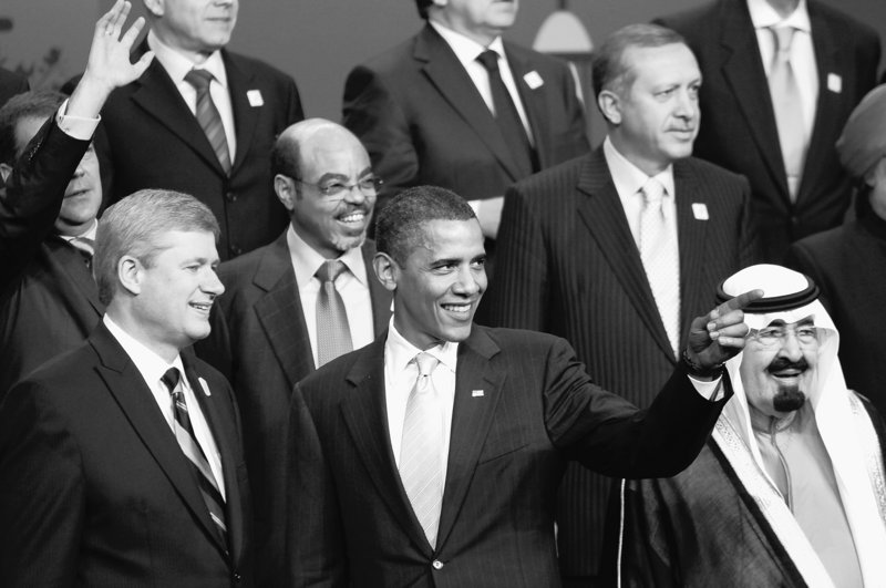 President Obama is joined by Canadian Prime Minister Stephen Harper, from left, Ethiopian Prime Minister Meles Zenawi, Turkish Prime Minister Recep Tayyip Erdogan, upper right, and King Abdullah of Saudi Arabia during the official photo at the G-20 Summit on Sunday.