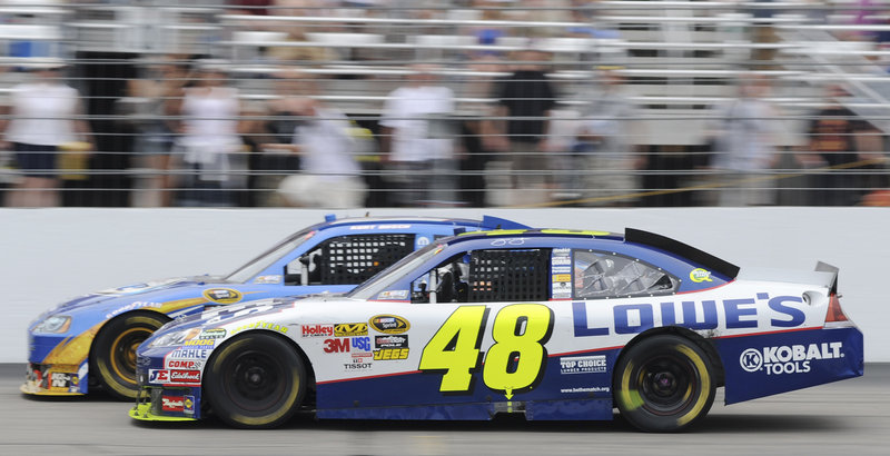 The late bumping between Kurt Busch and Jimmie Johnson, in the No. 48 car, livened up an otherwise uneventful Sprint Cup race on Sunday at New Hampshire Motor Speedway in Loudon, N.H.