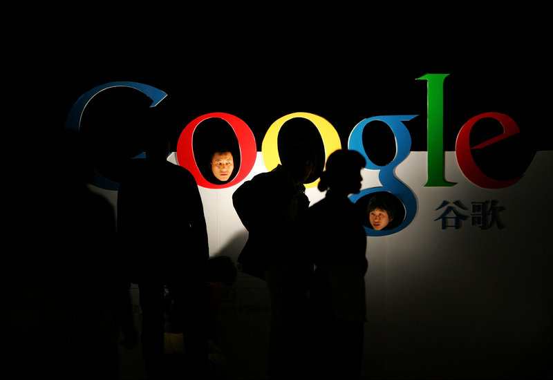 A Google logo in Beijing advertised the company's debut of its Chinese-language brand name in 2006, but the relationship has since soured, mainly over censorship issues.