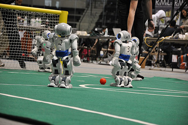 Scene from the 2010 RoboCupSoccer U.S. Open for the Standard Platform League, which was held in April at the Watson Ice Arena at Bowdoin. The Northern Bites took second place.