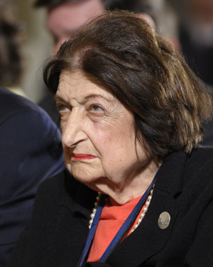 In this May 27, 2010, photo, Helen Thomas listens to President Barack Obama during a news conference in the East Room of the White House.