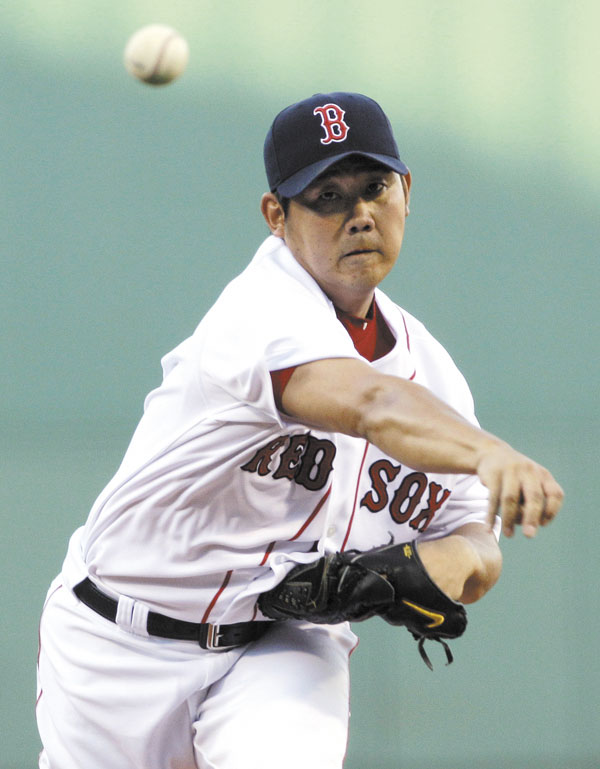 Red Sox pitcher Daisuke Matsuzaka gave up three runs in six innings against Tampa Bay Rays on Wednesday night at Fenway Park. He struck out seven and walked four as the Red Sox lost 7-4.