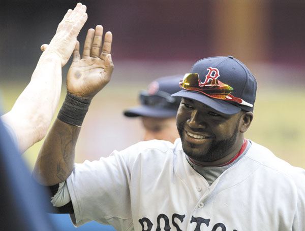 David Ortiz celebrates after the Red Sox beat the Blue Jays 3-2 Sunday in their final game before the All-Star break.